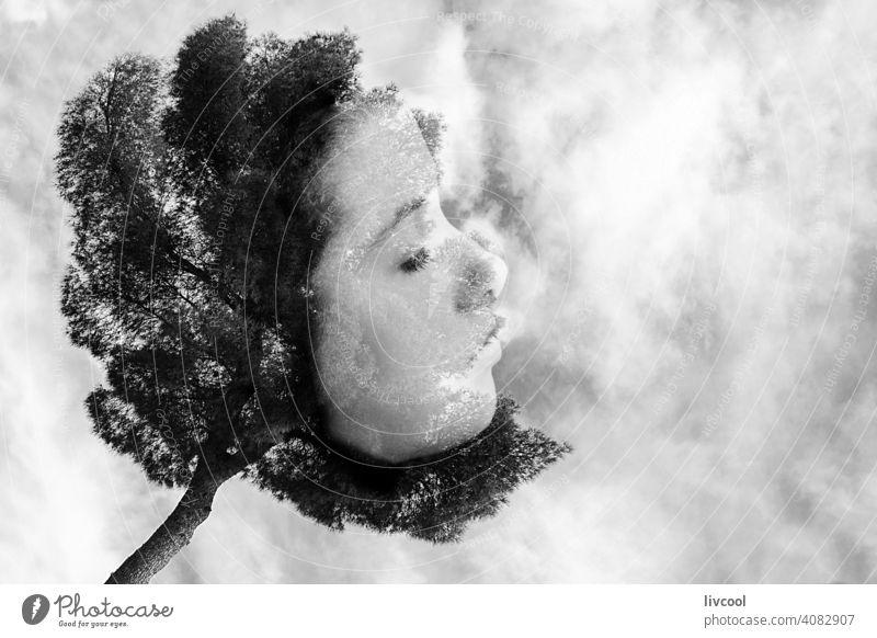 weibliches Gesicht mit einem Baum verschmolzen Frau Teenager Porträt Wald Berge u. Gebirge albanien berat Zitadelle Hügel Natur im Freien Kommunismus Tourismus