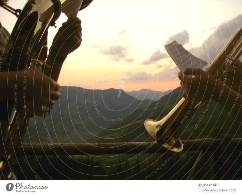Bergmusik Abenddämmerung Sonnenuntergang Trompete Romantik Europa Musik Berge u. Gebirge Alpen