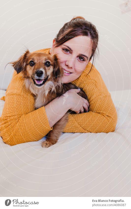 Junge Frau und ihr süßer Hund sitzen auf dem Bett. Liebe für Tiere Konzept. Ansicht von oben Lügen Morgen Schlafzimmer Welpe wecken Mädchen Komfort Sauberkeit