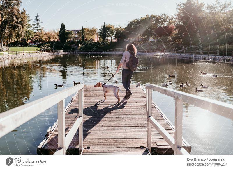 junge Frau und ihr Hund im Freien in einem Park mit einem See. sonniger Tag, Herbstzeit Liebe Haustier Besitzer schön Glück Lächeln gemischte Rasse Reinrassig