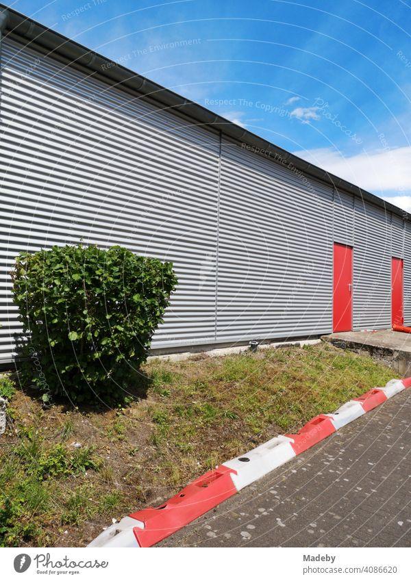 Grüner Strauch vor einem modernen Fluzeughangar mit Fassade aus Wellblech mit roten Türen am Segelflugplatz in Oerlinghausen bei Bielefeld am Hermannsweg im Teutoburger Wald in Ostwestfalen-Lippe