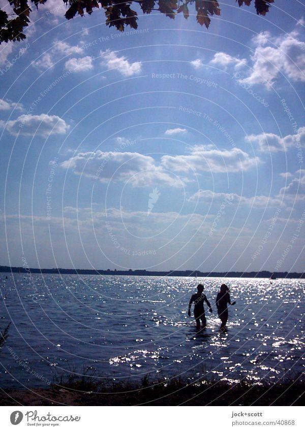 gegen die Sonne Frau Mann Wasser Sommer Erholung Blatt Wolken Freude Erwachsene Wärme Küste Liebe sprechen Schwimmen & Baden See gehen