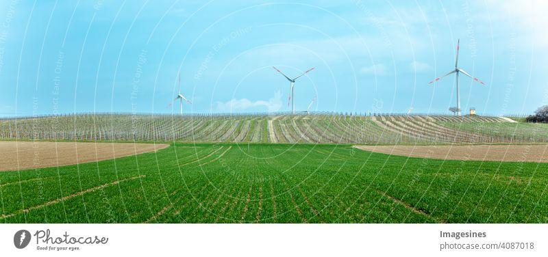 Windturbinen im Weinberg, auf einem Hügel mit einem Zufluchtshaus, Weinbergsturm. Rheinland-Pfalz, Deutschland Landwirtschaft Herbst blauer Himmel Klima