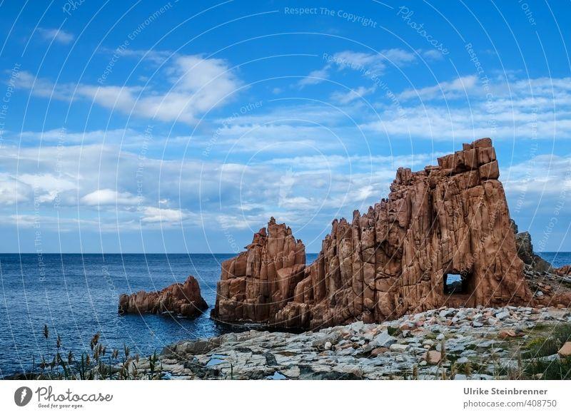 Du suchst das Meer Himmel Natur Ferien & Urlaub & Reisen blau Wasser rot Landschaft Wolken Umwelt Küste Frühling natürlich außergewöhnlich Felsen Kraft