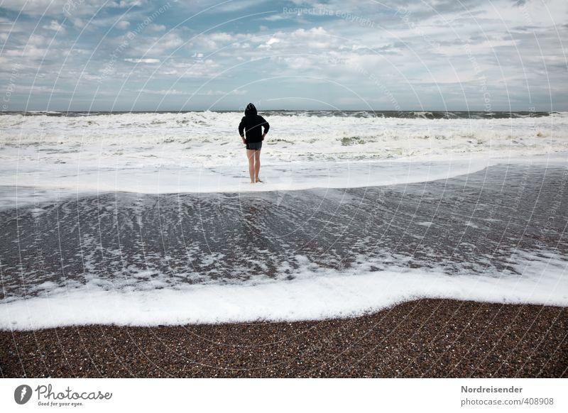 Nachsaison Leben Sinnesorgane Erholung Strand Meer Mensch Mann Erwachsene 1 18-30 Jahre Jugendliche Urelemente Wasser Nordsee Schwimmen & Baden Gesundheit nass