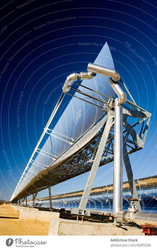Solarmodul auf Kraftwerk solar Panel Station Photovoltaik Himmel wolkenlos blau sonnig Zellen tagsüber Energie Elektrizität glänzend Technik & Technologie