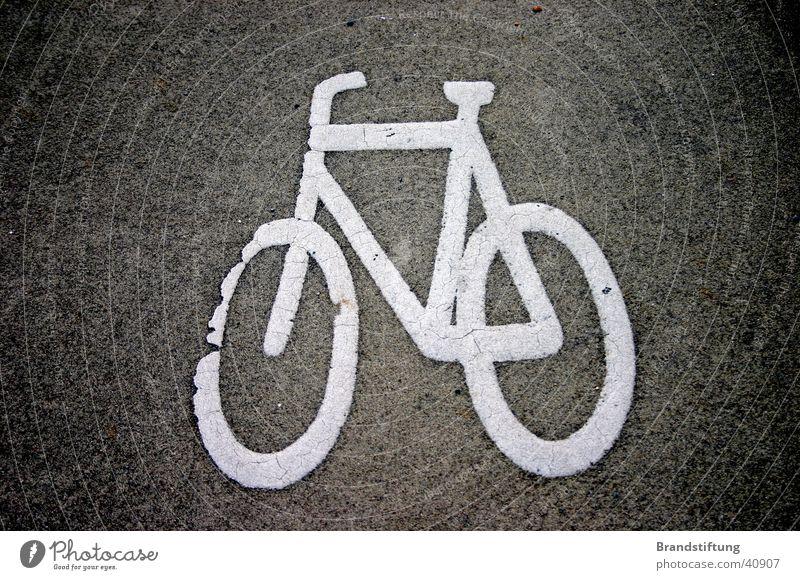 Fahrradweg Asphalt dreckig Verkehr Wege & Pfade Pikrogramm Hinweisschild Straße