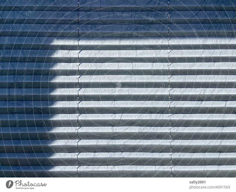 Sonnenschutz und undurchschaubar Jalousie Sichtschutz Plissee Plisseejalousie Vorhang weiß Schatten Schattenwurf Fenster Licht geschlossen Rollo