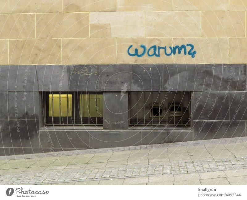 Warum? Graffiti warum Fragen Fragezeichen Schriftzeichen Farbfoto Außenaufnahme Zeichen Menschenleer Wand Mauer Gedeckte Farben Kellerfenster Tag Fassade Stadt