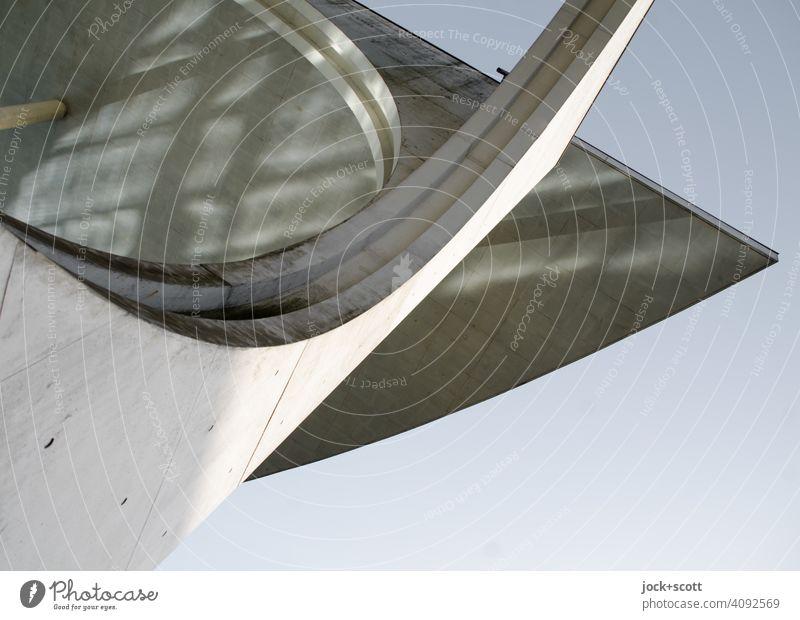 Lichtspiel am großen modernen Haus Beton Stil Strukturen & Formen Marie-Elisabeth-Lüders-Haus Moderne Architektur Parlamentsgebäude Wolkenloser Himmel