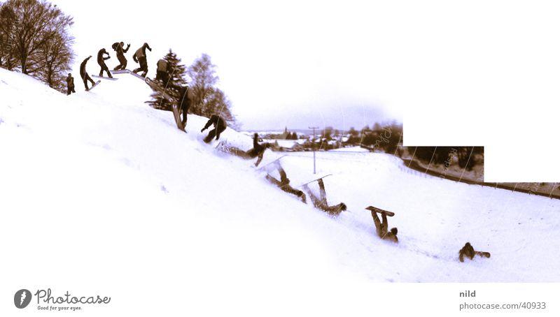 SCHMERZEN Winter Schnee springen Risiko Abheben Schmerz Reihe Sturz Doppelbelichtung Landen abwärts Unfall Snowboard Wintersport Missgeschick Skipiste