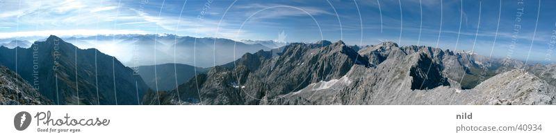 Panorama Lamsenspitze Sommer Ferien & Urlaub & Reisen Berge u. Gebirge groß Felsen Österreich Schlucht Panorama (Bildformat) Blauer Himmel Alpenvorland