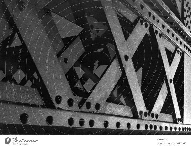 heavy metal Stahl Träger solide Stabilität Industrie Brücke Niete Detailaufnahme Eisenbahn Übergang Rücken