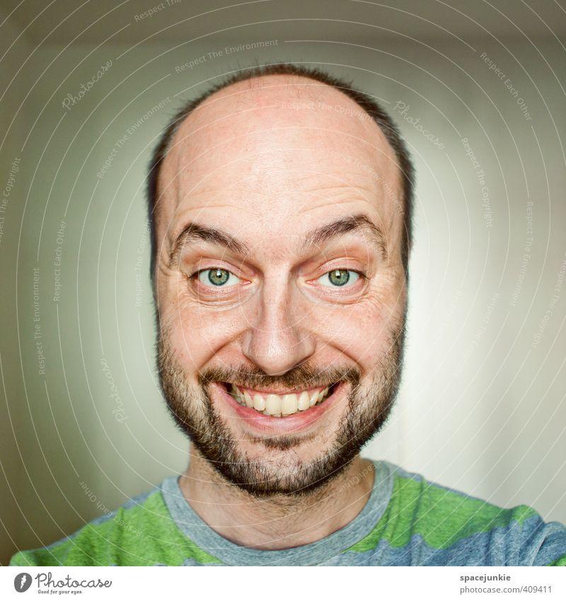 Smile Mensch maskulin Junger Mann Jugendliche Erwachsene Gesicht 1 30-45 Jahre schwarzhaarig kurzhaarig Glatze Dreitagebart Vollbart außergewöhnlich