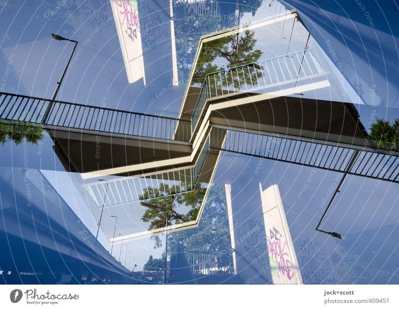 Putlitzer Brücke Treppenhaus Beton Metall eckig hoch modern Surrealismus Irritation Doppelbelichtung Asymmetrie Sinnestäuschung Detailaufnahme Experiment
