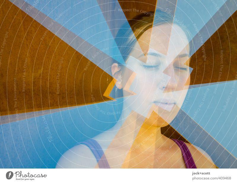 glücklicher Schnitt Mensch Jugendliche schön Junge Frau 18-30 Jahre Erwachsene Gesicht Wärme außergewöhnlich träumen Ecke Streifen Grafik u. Illustration Verstand Rost Irritation