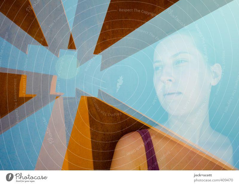 goldener Blick Sinnesorgane Junge Frau Jugendliche 1 Mensch 18-30 Jahre Erwachsene Berlin Stahl Rost träumen außergewöhnlich eckig Gefühle Kraft Menschlichkeit