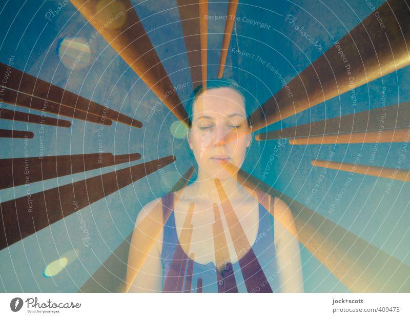innen & außen Sinnesorgane Meditation Frau Erwachsene 1 Mensch 18-30 Jahre Jugendliche Berlin ärmellos Metallstange Stahl Rost Streifen Erholung träumen