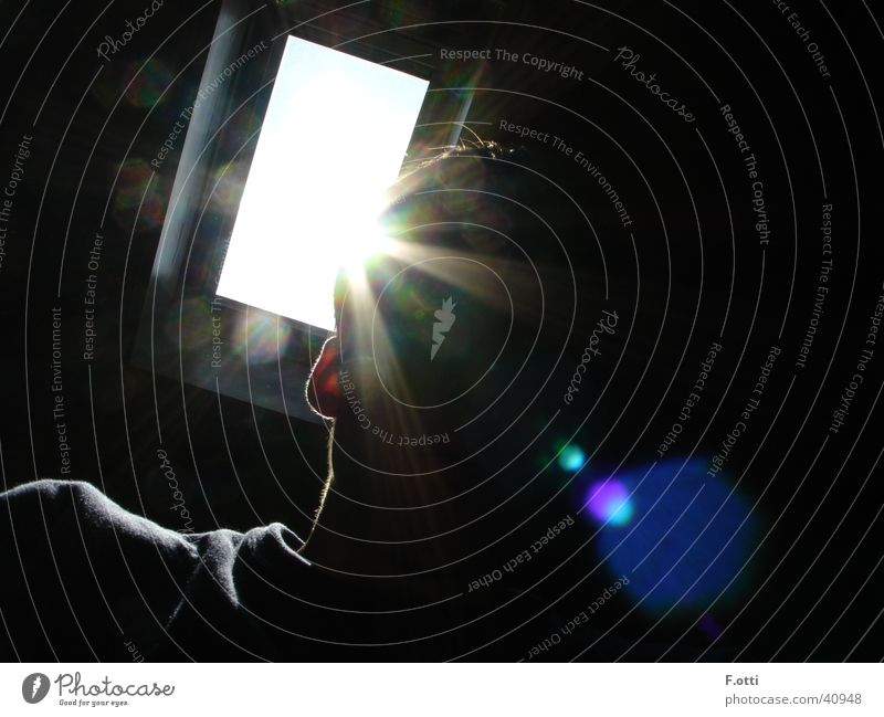 Misteriöses Portrait Mensch Mann Sonne dunkel Fotokamera