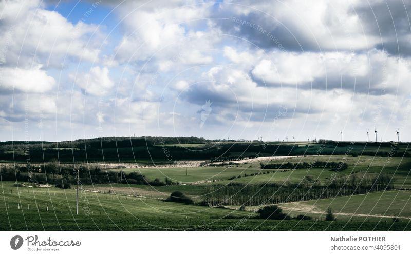 Ländliche Landschaft in Frankreich Horizont grün Frühling Sommer ländlich Feld Natur natürlich Wiese Himmel im Freien Gras Saison Umwelt Hintergrund Ackerbau