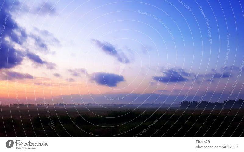 Natürliche Sonnenuntergang Sonnenaufgang über Feld oder Wiese. Helle dramatische Himmel und dunklen Boden. Countryside Sonne über Skyline, Horizont. Kalte Farben.