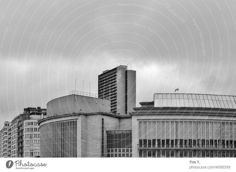 die Konzerthalle am Strand von Oostende in Schwarz Weiß Belgien Außenaufnahme Nordsee Küste Menschenleer Gebäude Konzerthaus Theater Plattenbau Hochhaus