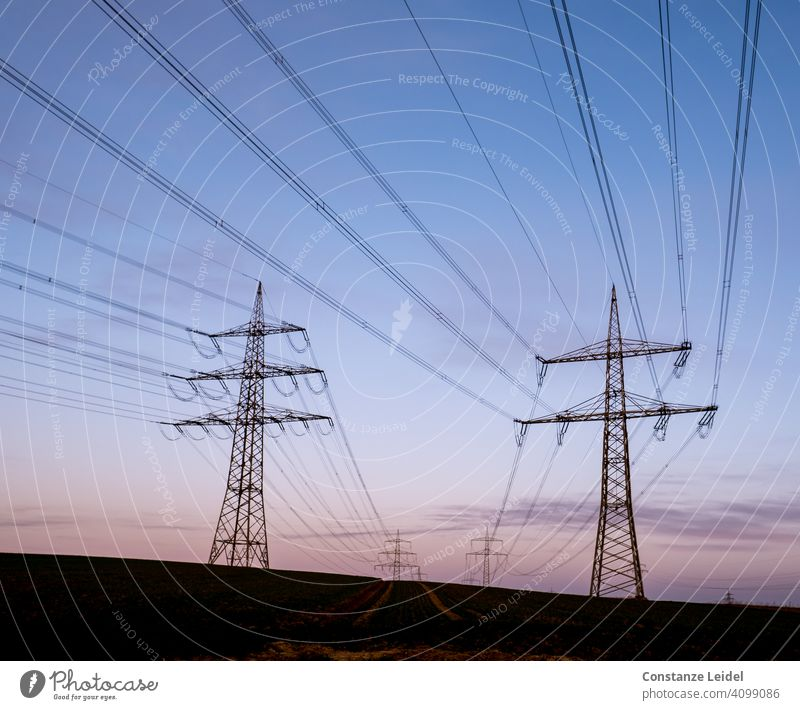 Hochspannungsleitungen am Morgenhimmel Morgendämmerung Blauer Himmel blaue Stunde Perspektive Menschenleer Landschaft Außenaufnahme Farbfoto