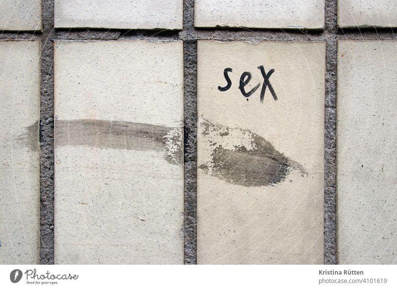 sex und schmiererei an der hauswand graffiti mauer fassade kacheln gebäude sexualität geschlecht geschlechtsverkehr sexy sexismus schmutz schmutzig dreckig