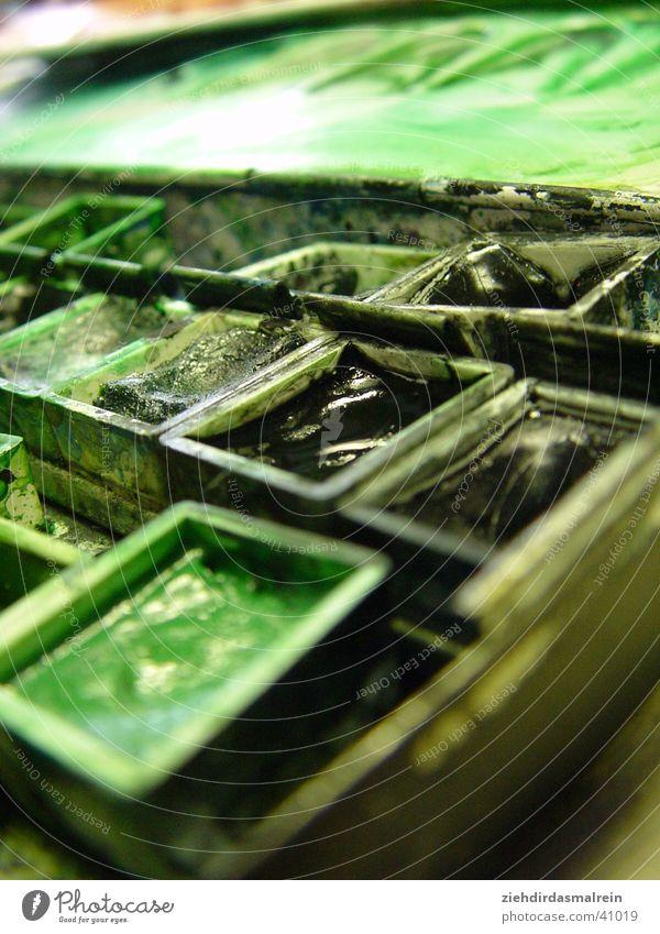 grüner kasten grün Farbe Künstler Pinsel Gemälde Aquarell