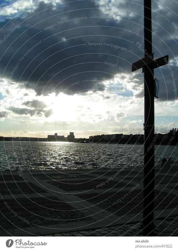 Wasserstraße Wasser Sonne Wolken Straße Küste Horizont Europa Skyline Strommast Stockholm