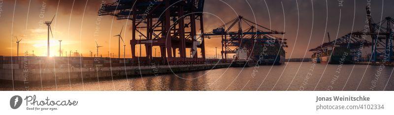 Großes Sonnenuntergangspanorama eines Containerterminals in Hamburg Schiffswerft fein Entladung redaktionell burchardkai Tageslicht Elbe Transportsystem