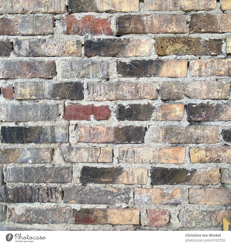 Alte Backsteinwand Wand Klinkersteine Fassade Mauer Steine antik Strukturen & Formen Außenaufnahme Backsteinfassade Ziegelwand Muster Hintergrundtextur
