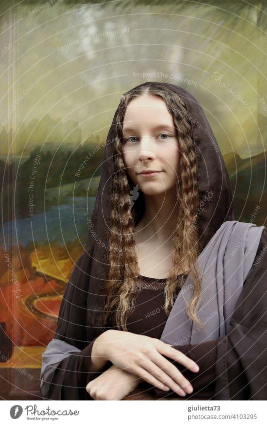 Illusion | Mona Lisa lebt... Porträt Gesicht Mädchen Jugendliche Junge Frau schön Blick berühmt Leonardo da vinci Gemälde gemäldeartig Renaissance weltberühmt