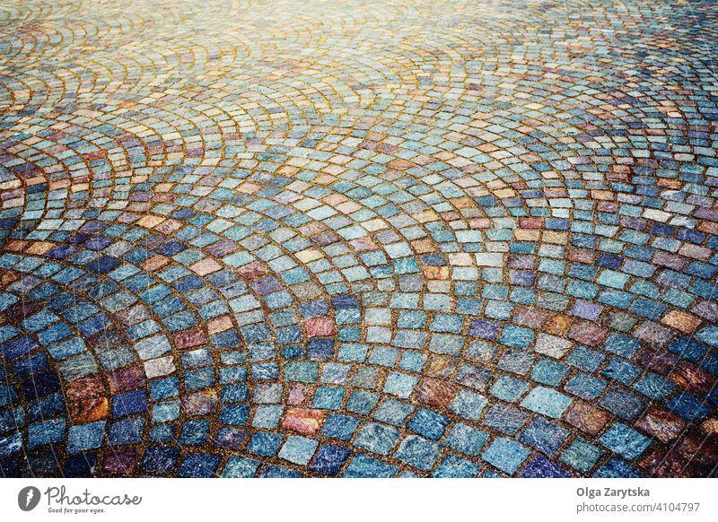 Granit Kopfsteinpflaster steinigen Bürgersteig Hintergrund. abstrakt Mosaik Design Muster retro alt Straßenbelag Grunge altehrwürdig Textur Konstruktion Klotz