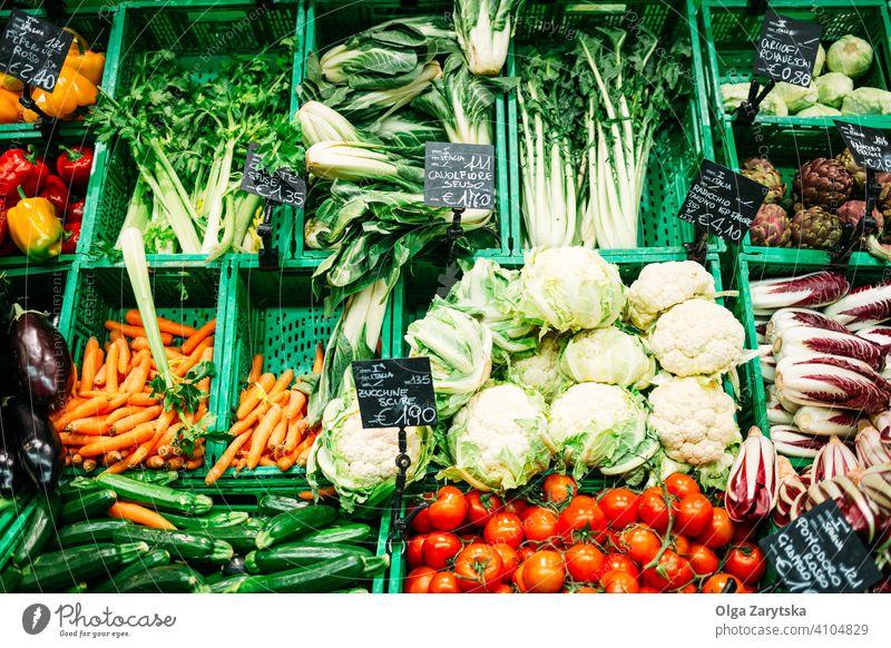 Frisches Gemüse aus dem Supermarkt. Hintergrund Lebensmittel Frucht Blatt frisch Laden Möhre Farbe grün Lebensmittelgeschäft Gesundheit Markt organisch Produkt