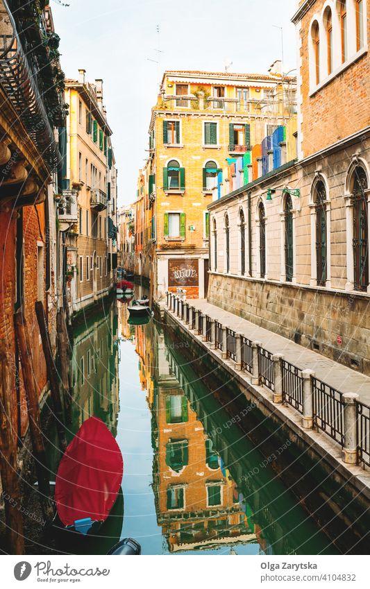 Blick auf den Kanal in Venedig. Italien Hintergrund abstrakt Wasser Anziehungskraft Postkarte Großstadt Stadtbild Europa Europäer berühmt Italienisch Landschaft