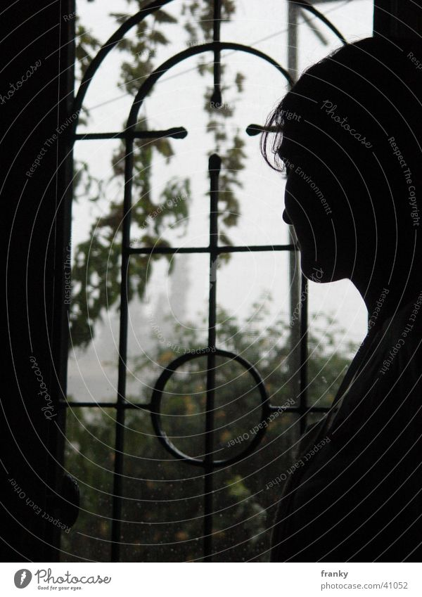 regen Silhouette Frau Schatten Regen Profil
