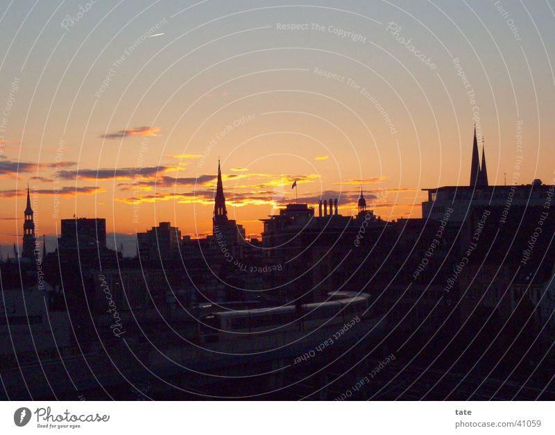 Sunset-City 3 Stadt Abend Sonnenuntergang Romantik Europa Hamburg Silhouette Skyline Abenddämmerung
