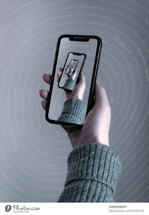 Handy-Bild im Bild, im Bild, im Bild, im... Telefon Smartphone Technik & Technologie Lifestyle Mobile Mitteilung Funktelefon halten Wiederholung Gerät Internet