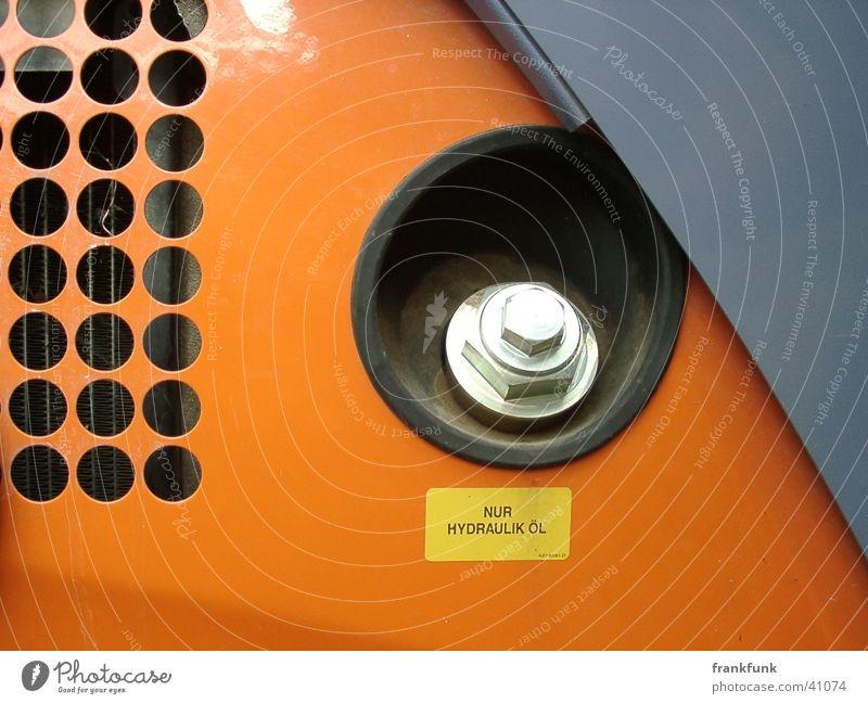 Bagger grau Metall orange Baustelle Technik & Technologie Erdöl Schraube Elektrisches Gerät