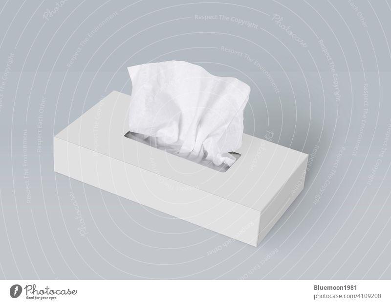 Tissue-Box auf hellgrauem Hintergrund Mock-up Attrappe editierbar Wandel & Veränderung Papier vereinzelt Serviette Vorlage weiß Gesichtsbehandlung Produkt weich
