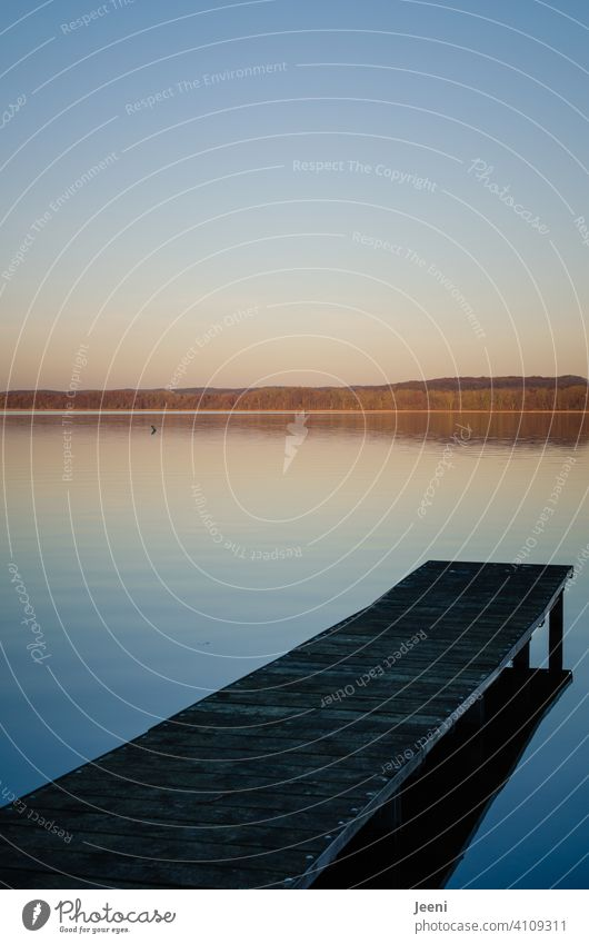 Blaue Lagune | Holzsteg führt in den idyllischen See Steg Abend Abenddämmerung Nachmittag blau Spiegelung Spiegelung im Wasser Stimmung Stimmungsbild