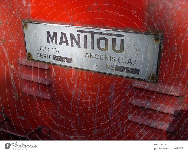 manitou alt rot Technik & Technologie Schriftzeichen Etikett Traktor Landwirtschaftliche Geräte Elektrisches Gerät