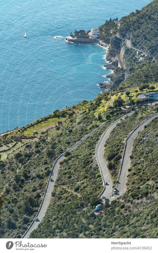 """Blick von oben auf die """"Route de la Turbie"""" - Nahe Monaco Cote d'Azur Mittelmeer Frankreich Farbfoto Ferien & Urlaub & Reisen Sommer Tourismus Menschenleer"""