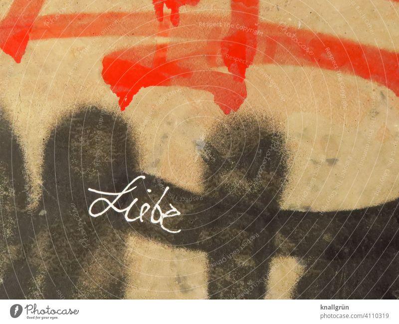 Liebe Graffiti Kunst Schriftzeichen Wand Mauer Außenaufnahme Farbfoto Menschenleer Tag Gefühle Stadt Buchstaben Wort Satz Letter Lateinisches Alphabet