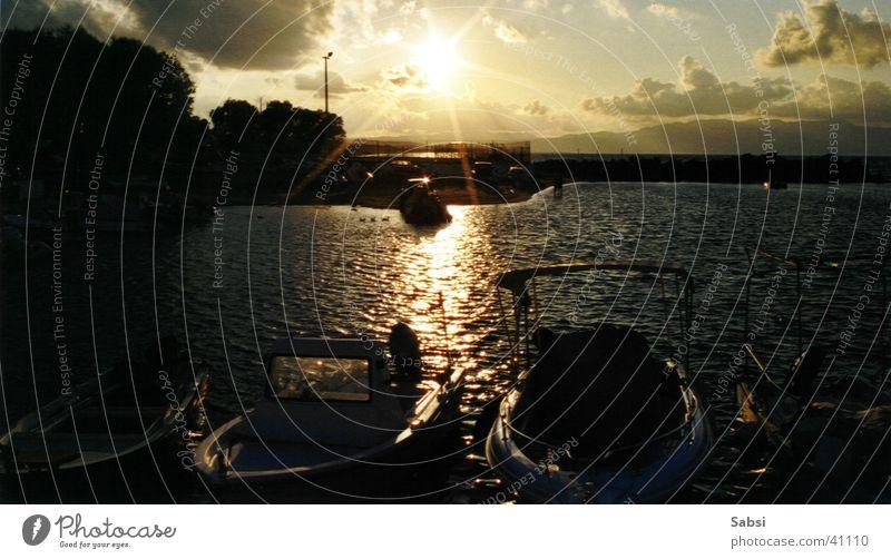 porto platanias Wasser Sonne Wasserfahrzeug Europa Hafen Griechenland Kreta