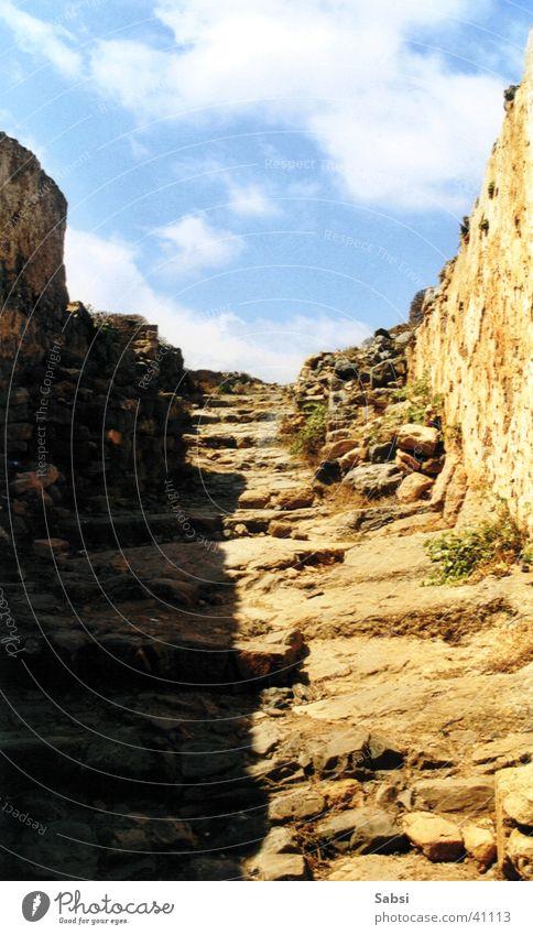 Stufen Ruine Griechenland Kreta Europa Treppe Stein Himmel Schatten