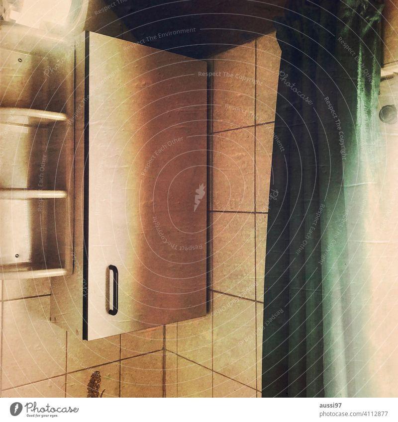 Szenen des Wohnens 10 wohnen leben Häusliches Leben Menschenleer Haus Einsamkeit Einrichtung Farbfoto Innenaufnahme 70er Jahre Fliesen u. Kacheln Badezimmer