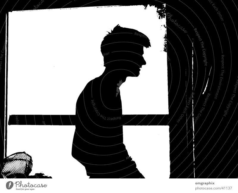 scherenschnitt Mensch Mann Silhouette Comic Humor graphisch Schattenspiel Schattenseite Schattendasein Vor hellem Hintergrund