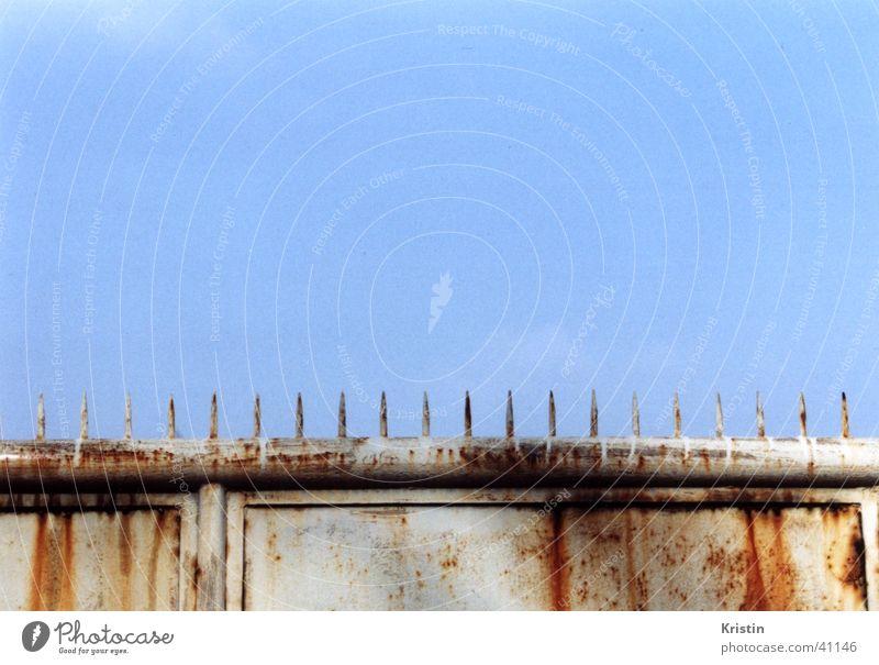 stachelzaun gefährlich Architektur Stachel Tor Himmel Rost blau stachelig